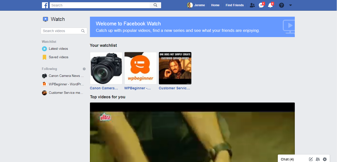 watch feature in facebook